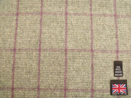 100% Pure New Wool Windowpane Check Tweed BZ37